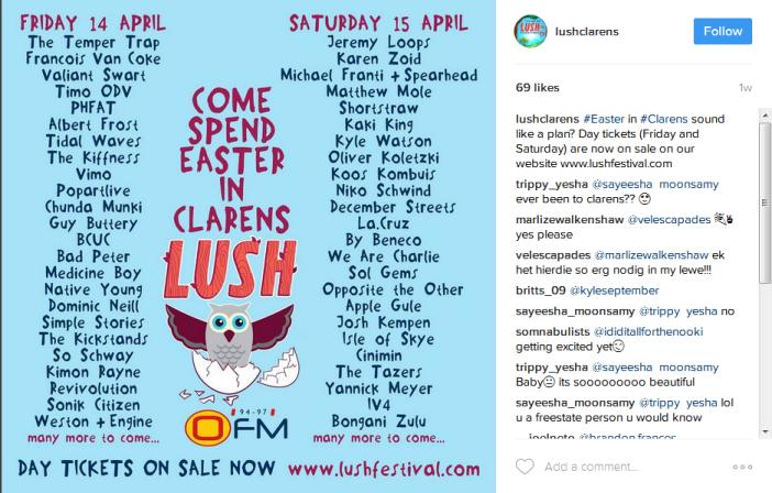 Lush festival line up